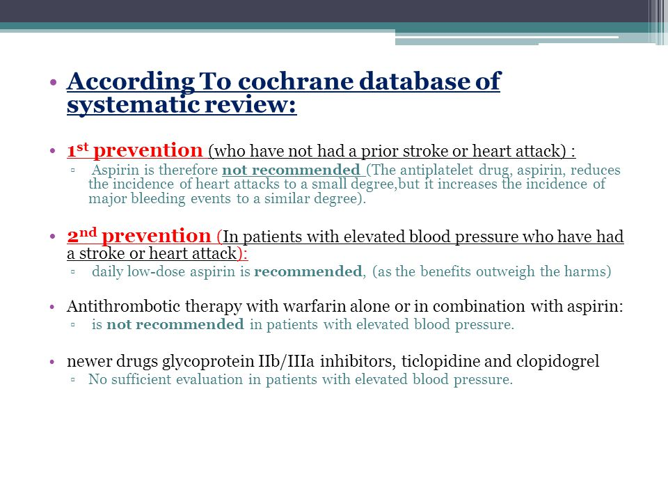 According To cochrane database of systematic review: