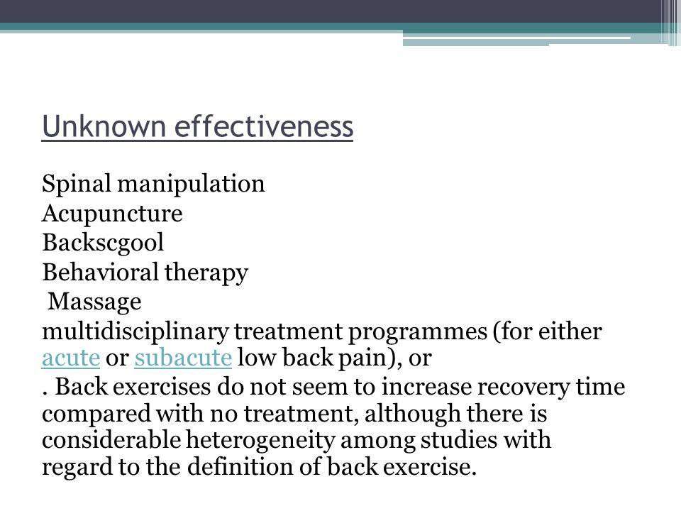 Unknown effectiveness