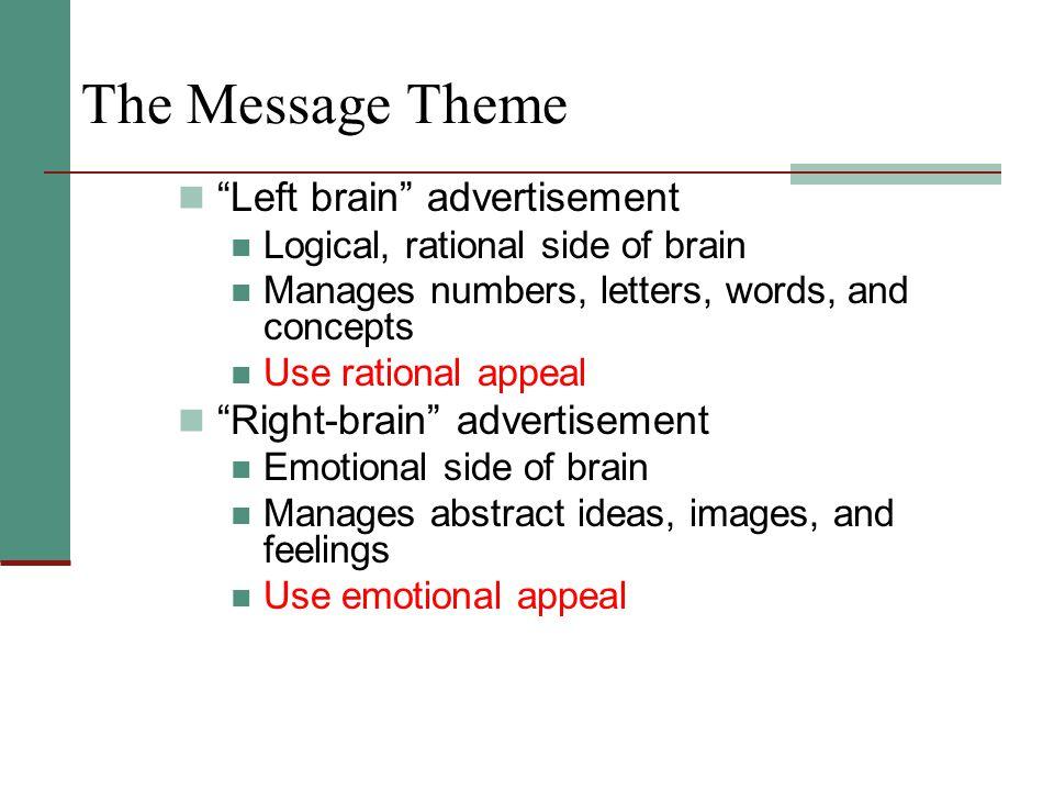 The Message Theme Left brain advertisement