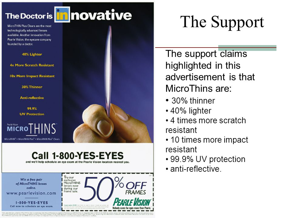 The Support The support claims highlighted in this advertisement is that MicroThins are: 30% thinner.