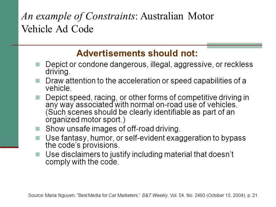 An example of Constraints: Australian Motor Vehicle Ad Code