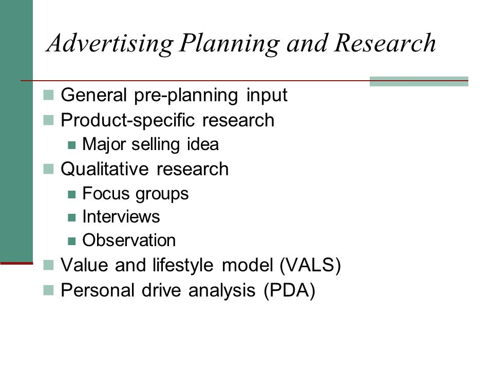 Advertising Planning and Research