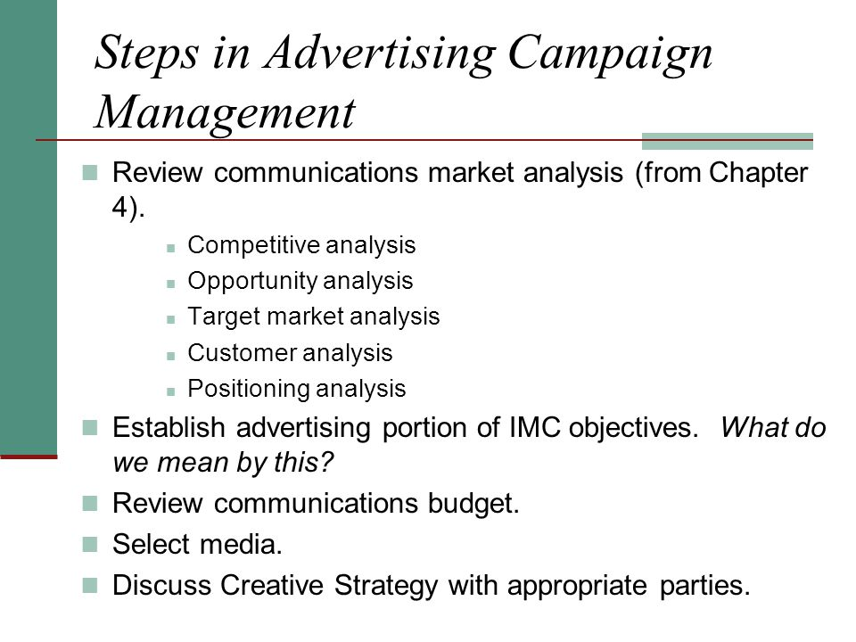 Steps in Advertising Campaign Management