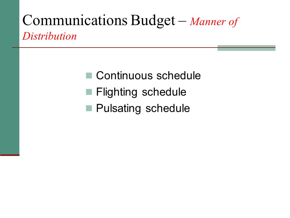 Communications Budget – Manner of Distribution