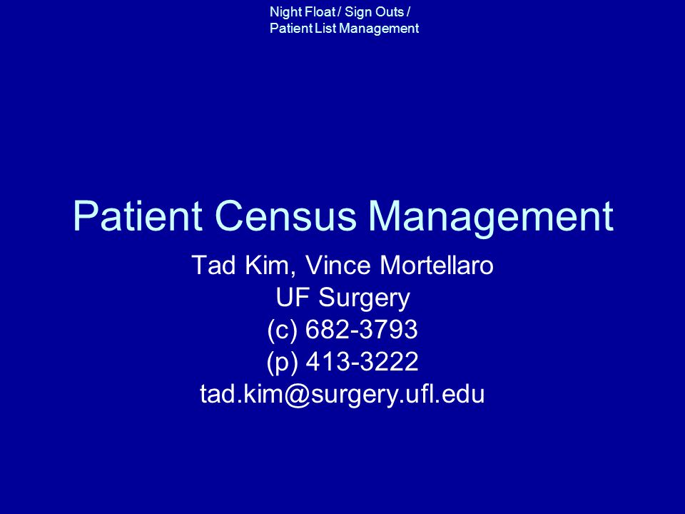 Patient Census Management