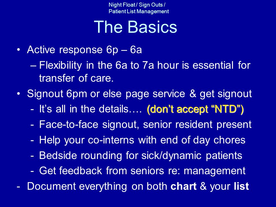 The Basics Active response 6p – 6a