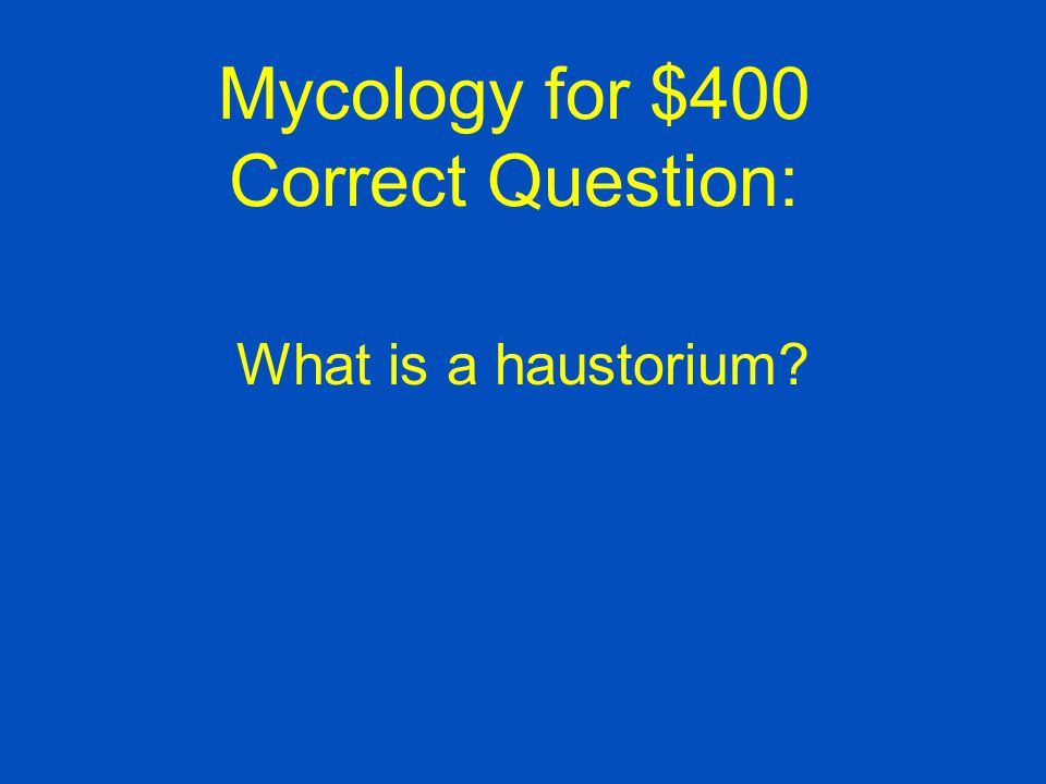Mycology for $400 Correct Question: