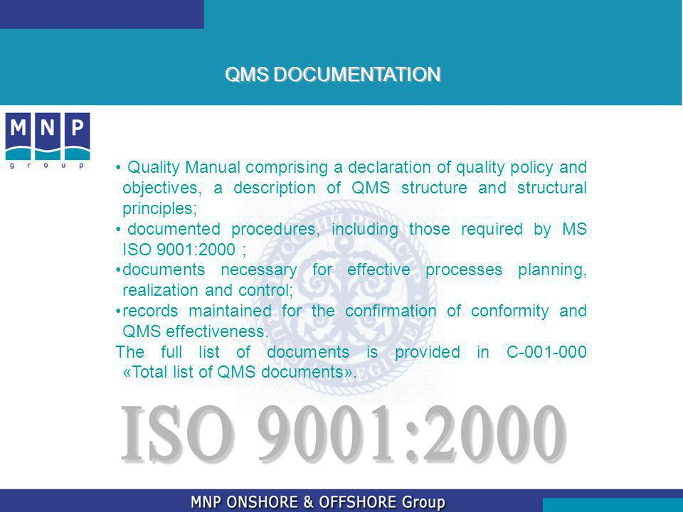 QMS DOCUMENTATION Quality Manual comprising a declaration of quality policy and objectives, a description of QMS structure and structural principles;