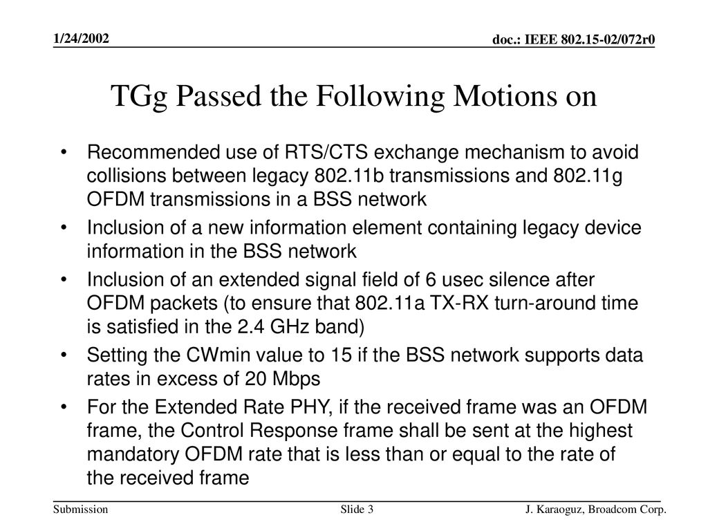 TGg Passed the Following Motions on