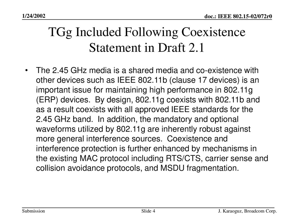 TGg Included Following Coexistence Statement in Draft 2.1