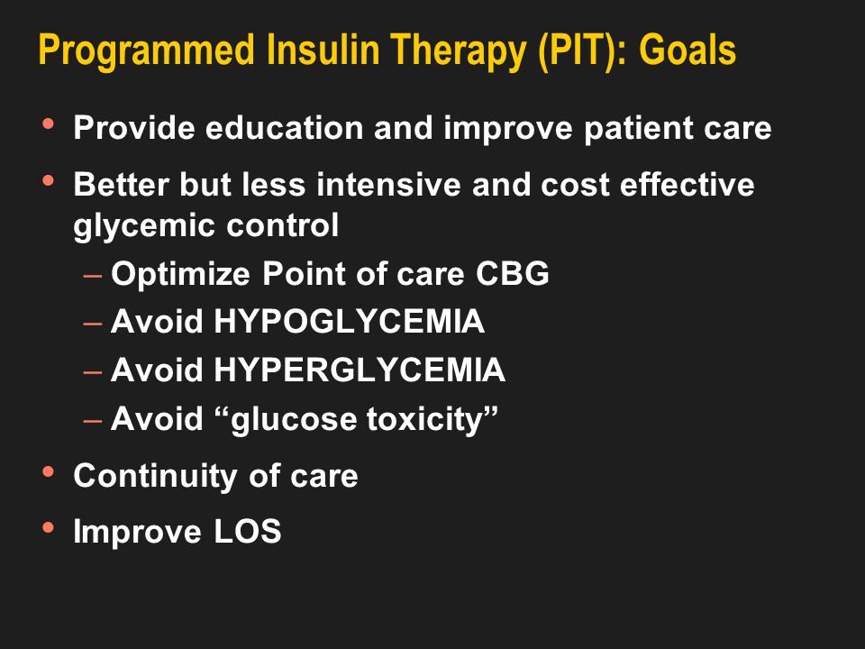 Programmed Insulin Therapy