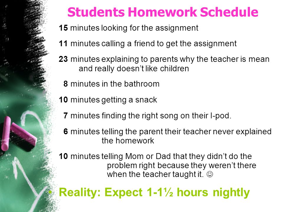 Students Homework Schedule