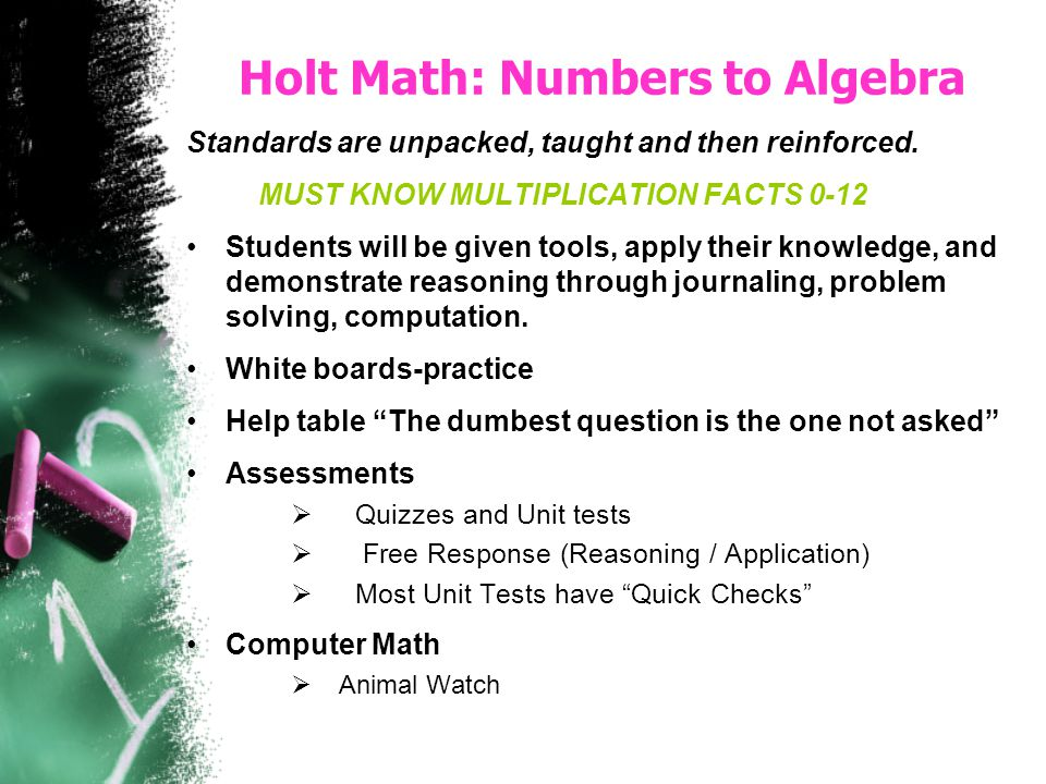 Holt Math: Numbers to Algebra