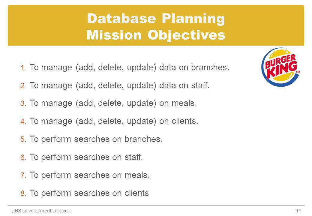 Database Planning Mission Objectives