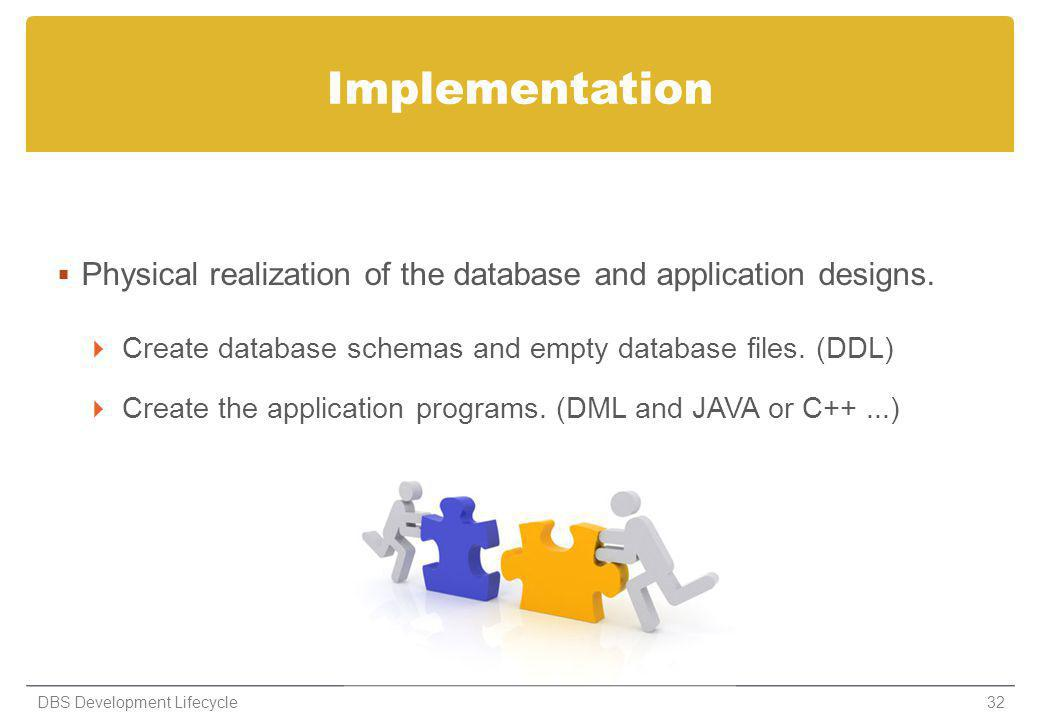Implementation Physical realization of the database and application designs. Create database schemas and empty database files. (DDL)