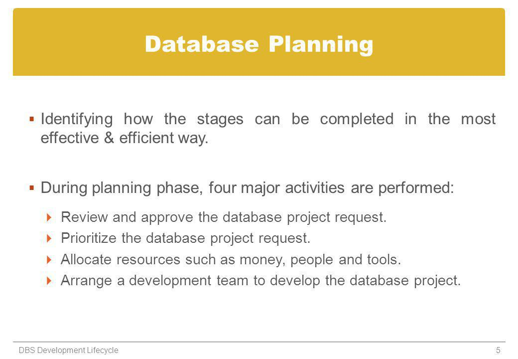 Database Planning Identifying how the stages can be completed in the most effective & efficient way.