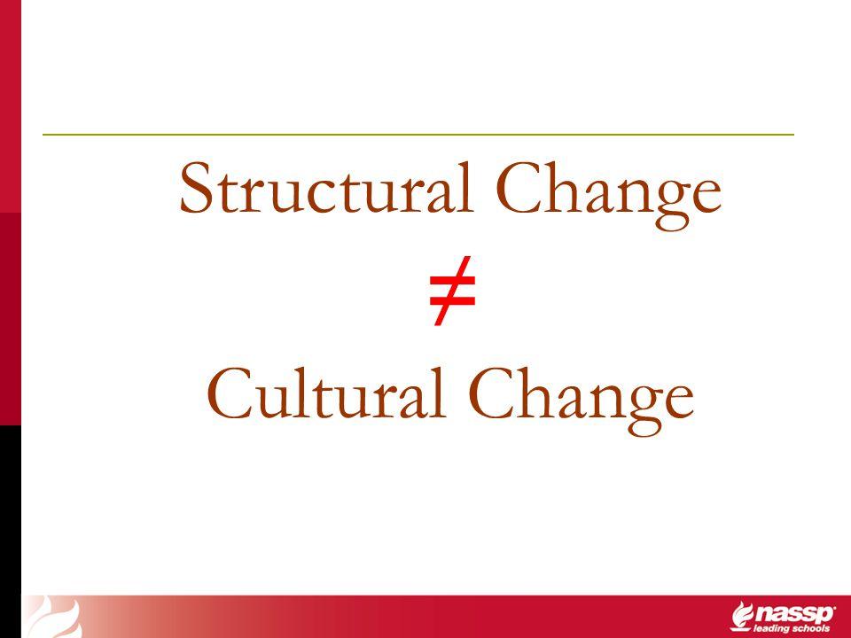 ≠ Structural Change Cultural Change