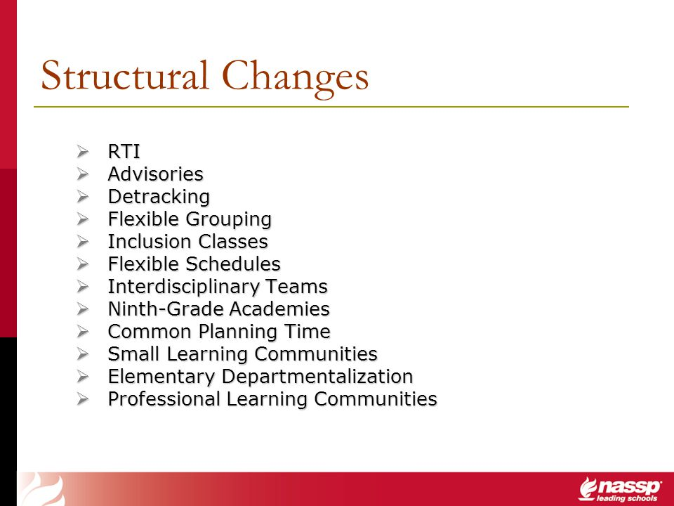 Structural Changes RTI Advisories Detracking Flexible Grouping
