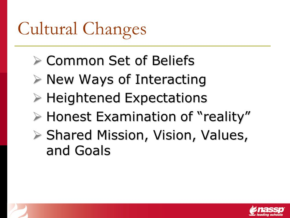 Cultural Changes Common Set of Beliefs New Ways of Interacting