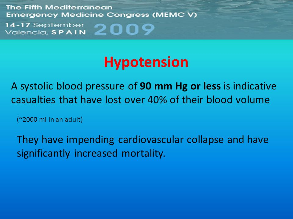 Hypotension A systolic blood pressure of 90 mm Hg or less is indicative casualties that have lost over 40% of their blood volume.