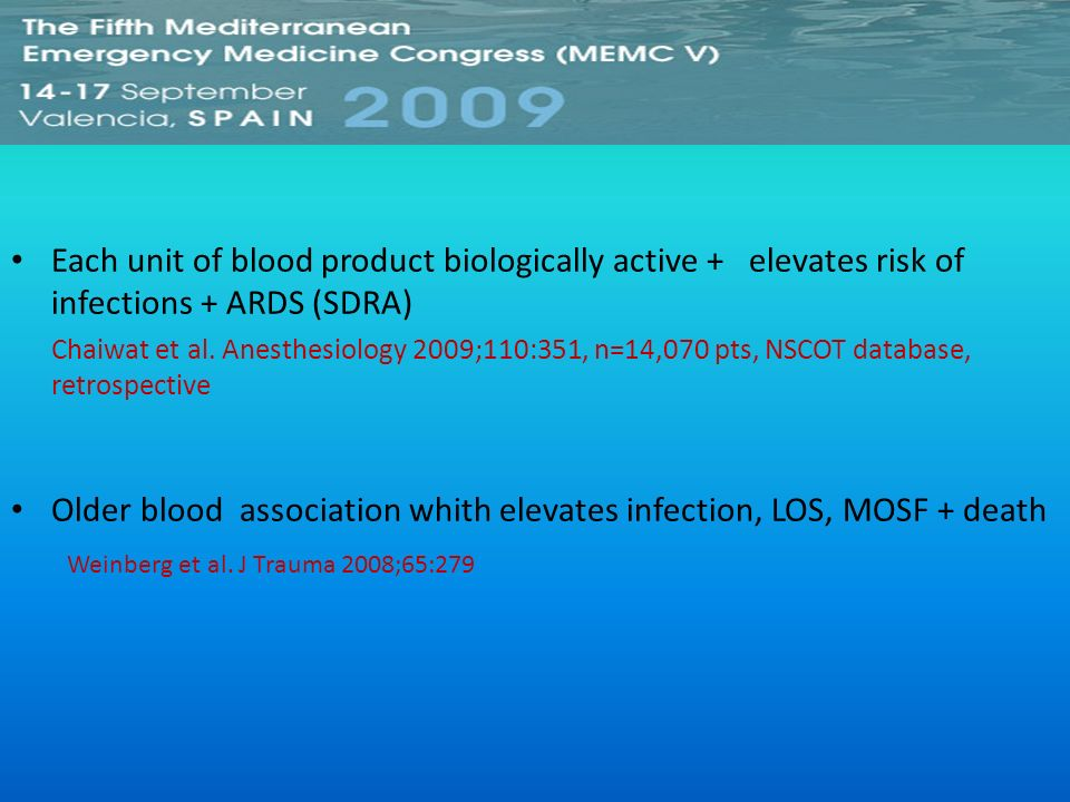 Older blood association whith elevates infection, LOS, MOSF + death
