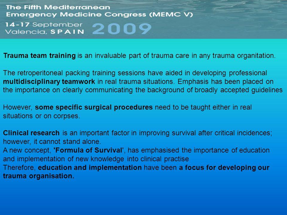 Trauma team training is an invaluable part of trauma care in any trauma organitation.