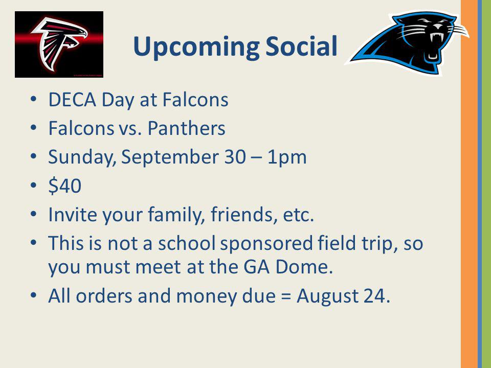 Upcoming Social DECA Day at Falcons Falcons vs. Panthers