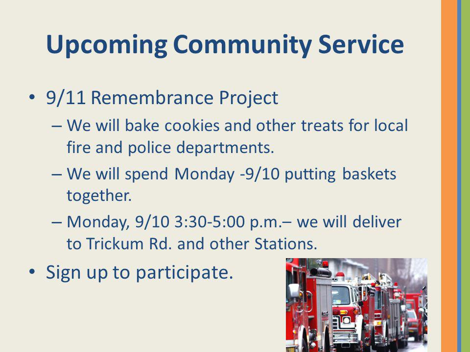 Upcoming Community Service
