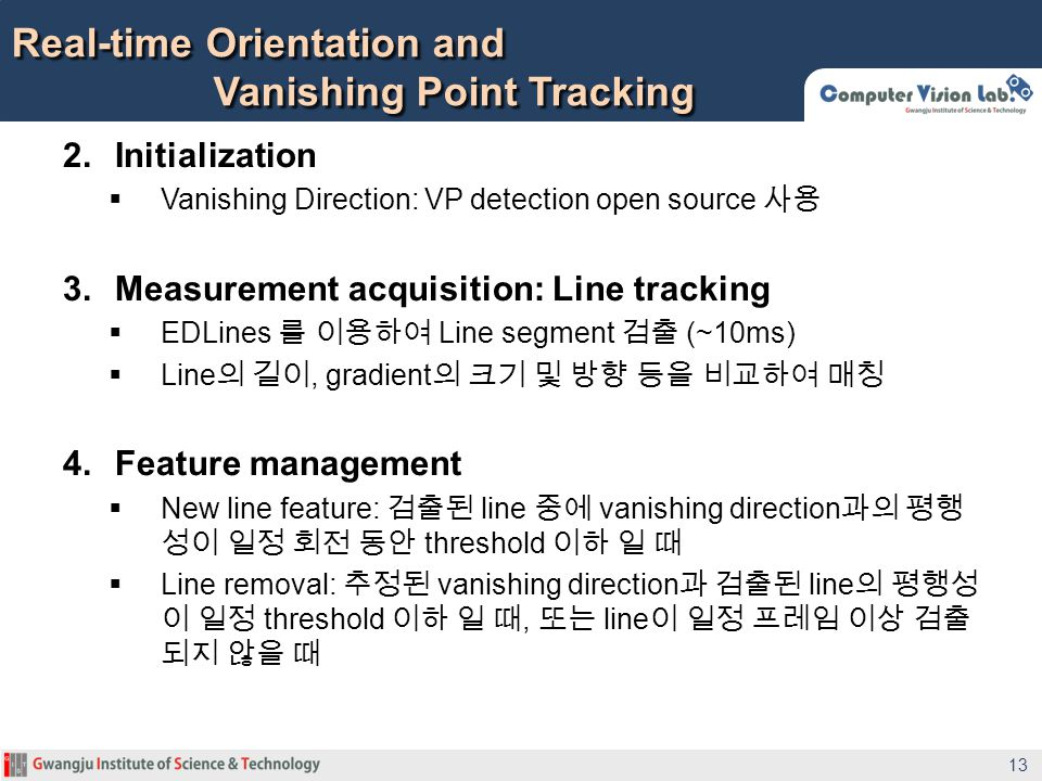 Real-time Orientation and Vanishing Point Tracking