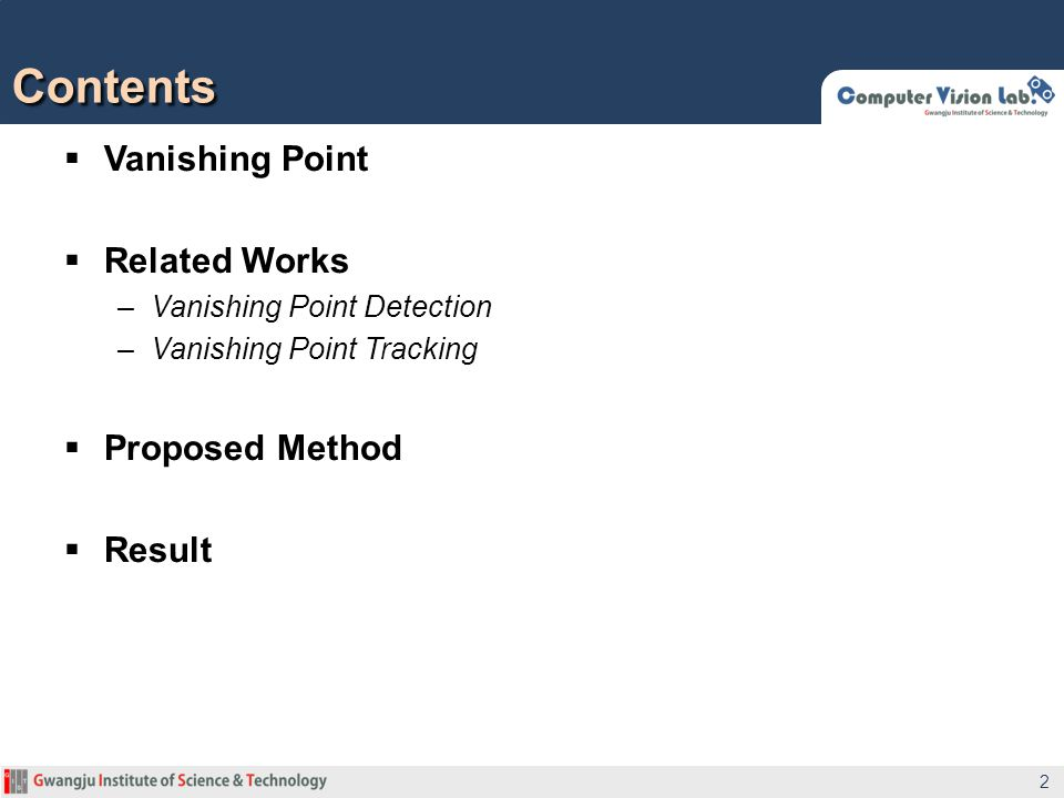 Contents Vanishing Point Related Works Proposed Method Result