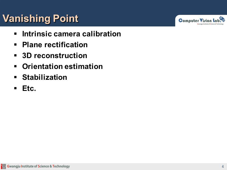 Vanishing Point Intrinsic camera calibration Plane rectification