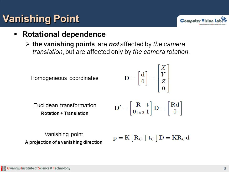 Rotation + Translation A projection of a vanishing direction
