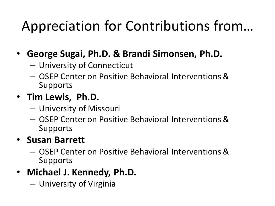 Appreciation for Contributions from…