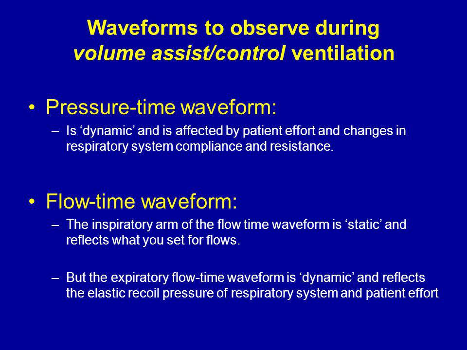 Waveforms to observe during volume assist/control ventilation