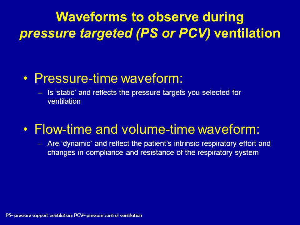 Waveforms to observe during pressure targeted (PS or PCV) ventilation