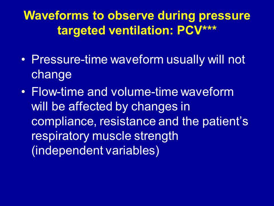 Waveforms to observe during pressure targeted ventilation: PCV***