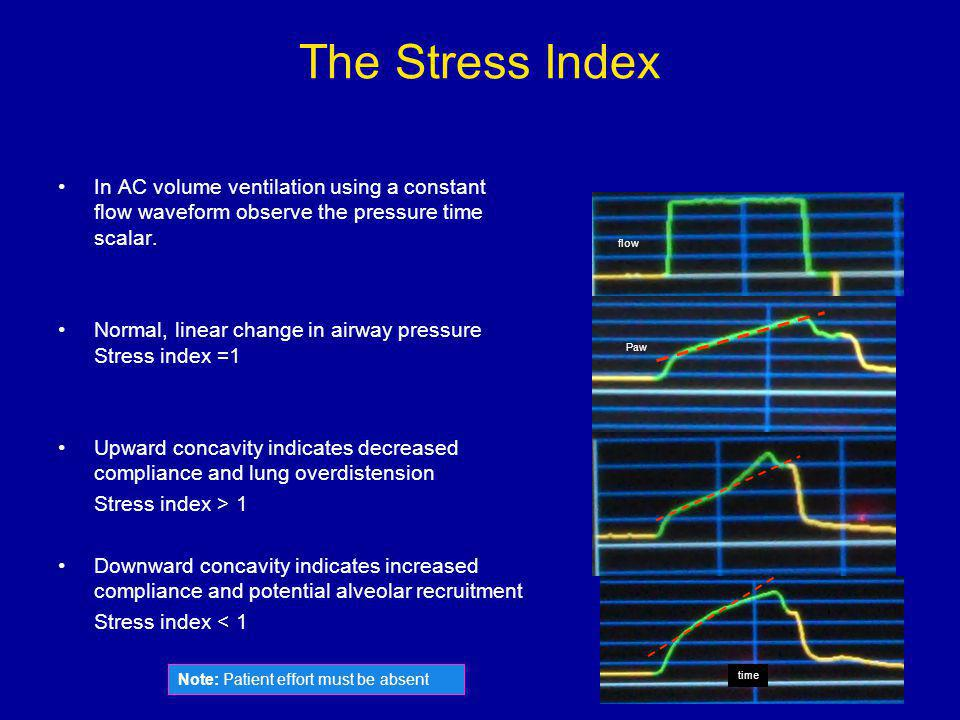 The Stress Index In AC volume ventilation using a constant flow waveform observe the pressure time scalar.