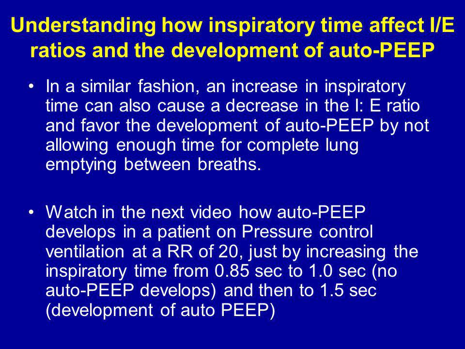 Understanding how inspiratory time affect I/E ratios and the development of auto-PEEP
