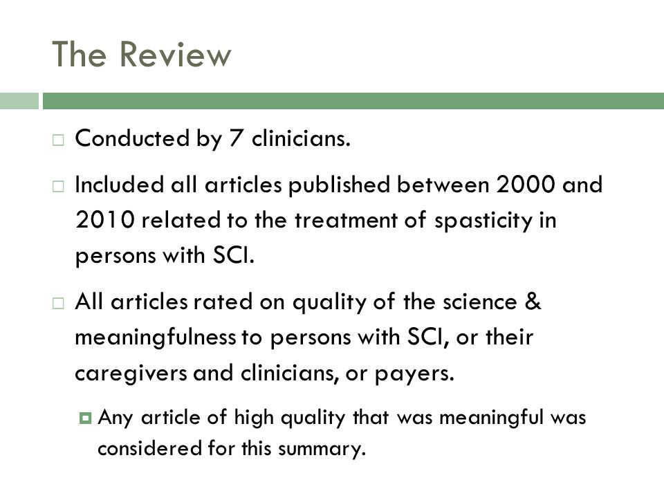 The Review Conducted by 7 clinicians.