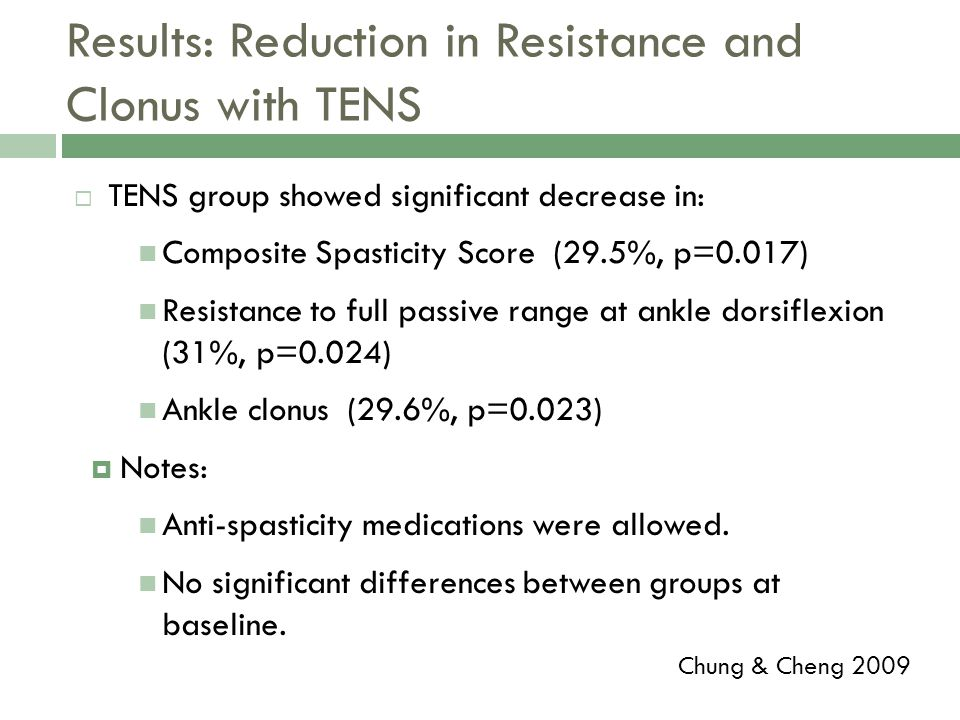 Results: Reduction in Resistance and Clonus with TENS