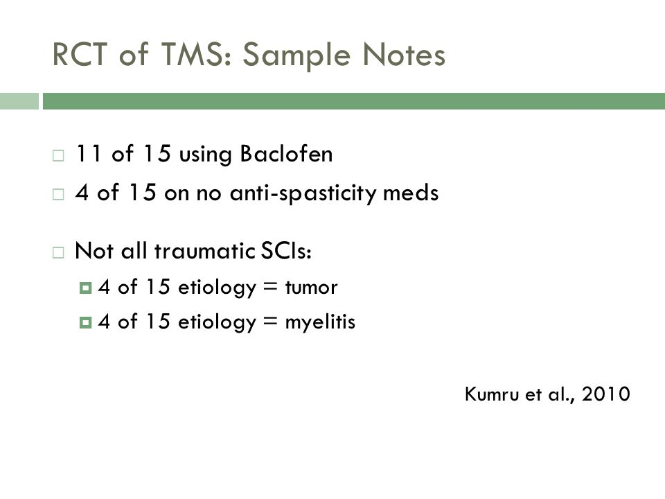 RCT of TMS: Sample Notes