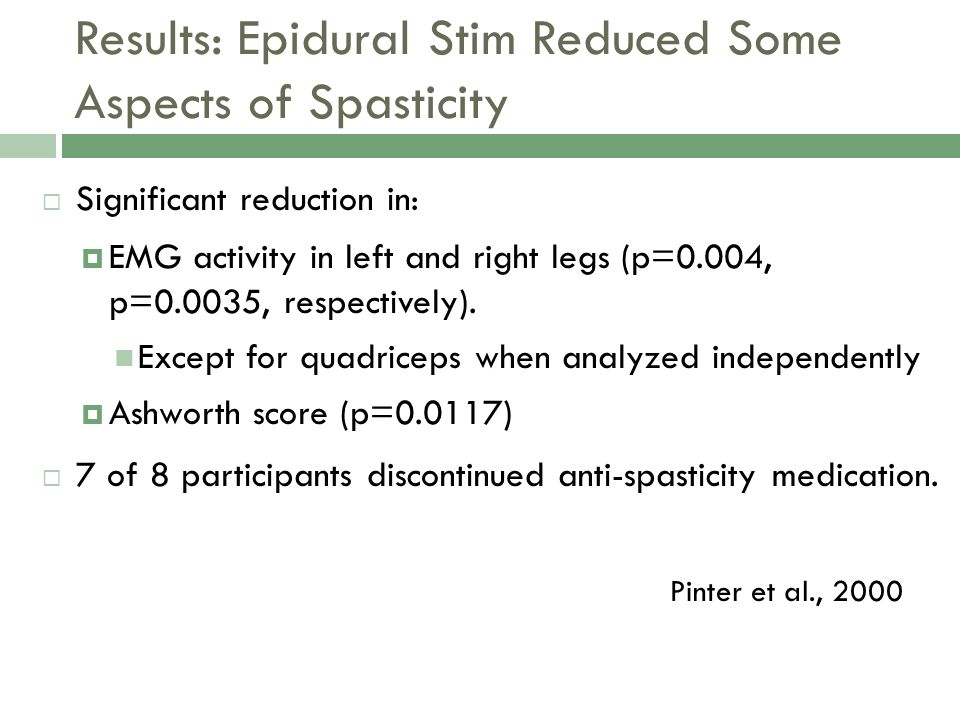 Results: Epidural Stim Reduced Some Aspects of Spasticity