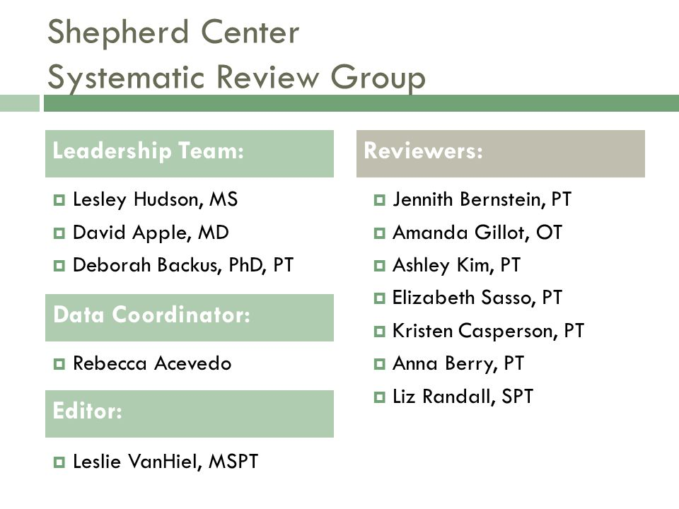 Shepherd Center Systematic Review Group