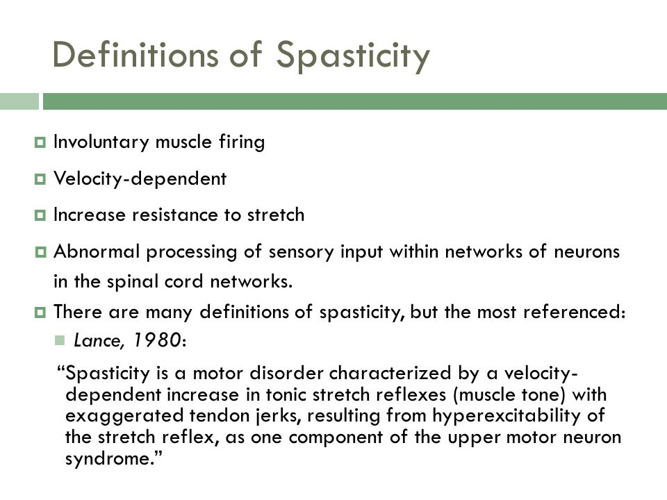 Definitions of Spasticity