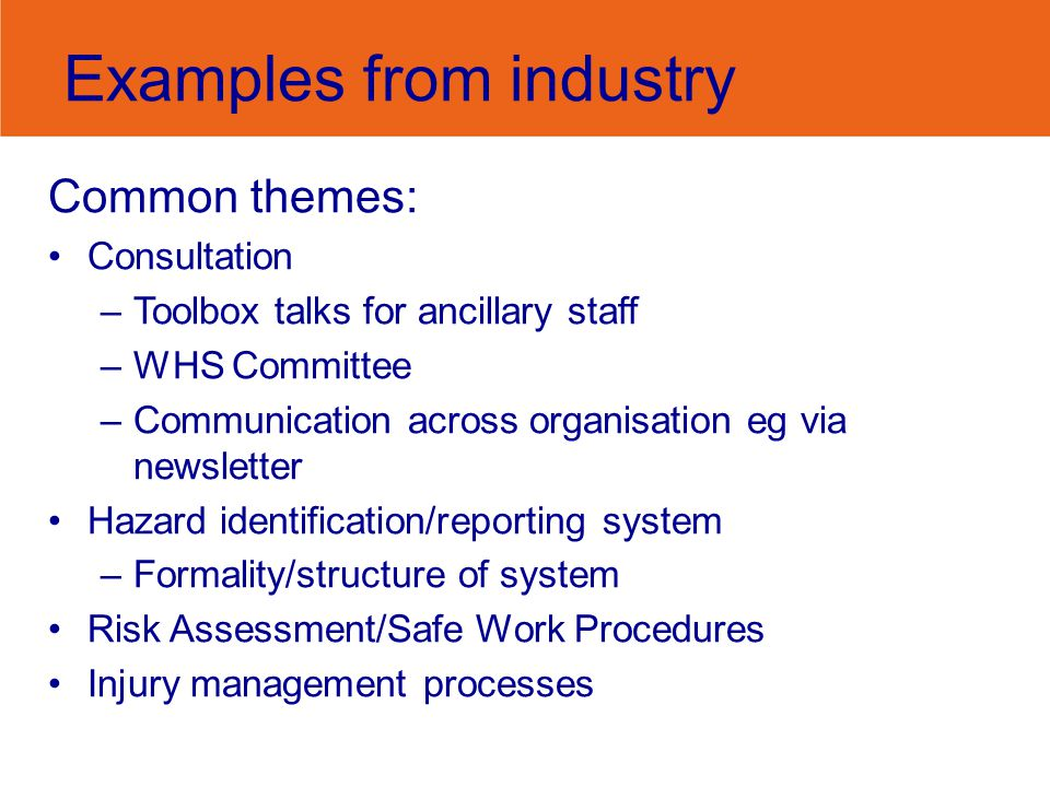 Examples from industry