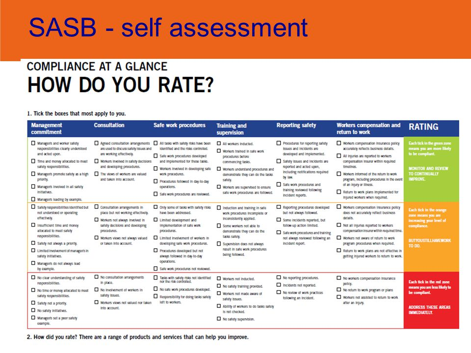 SASB - self assessment The pack includes a simple self assessment tool which helps you get started with identified priority areas for improvement.