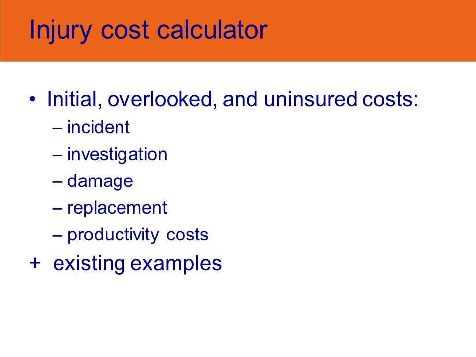 Injury cost calculator