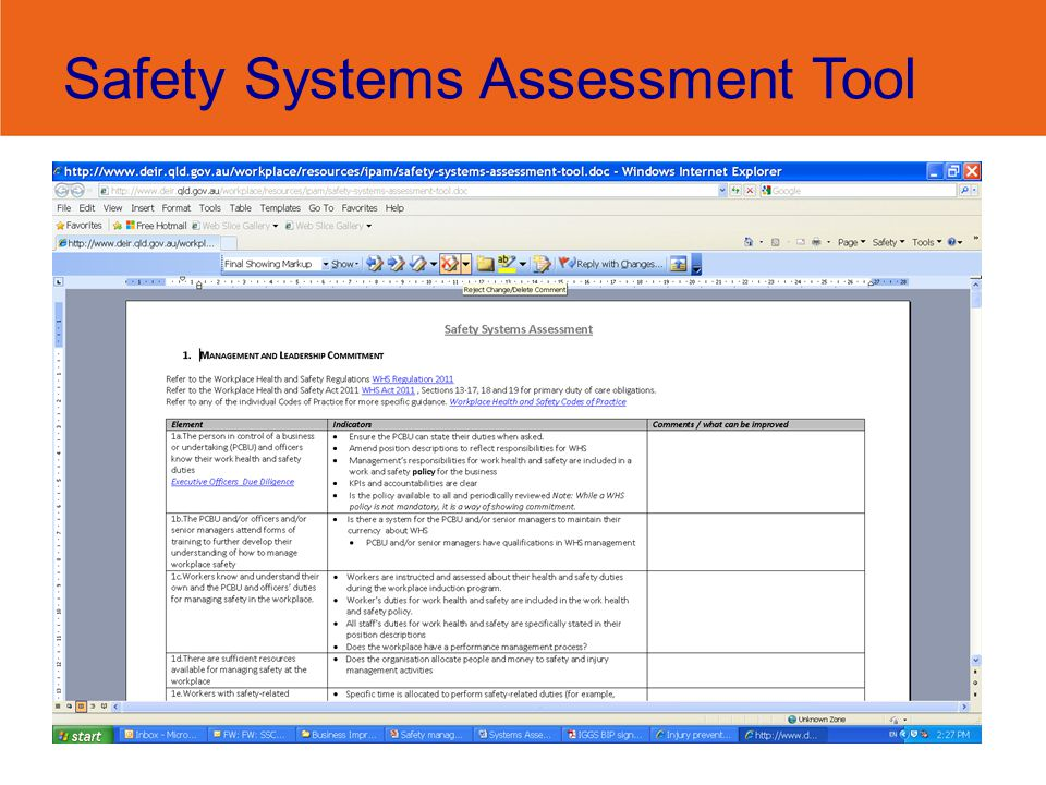 Safety Systems Assessment Tool