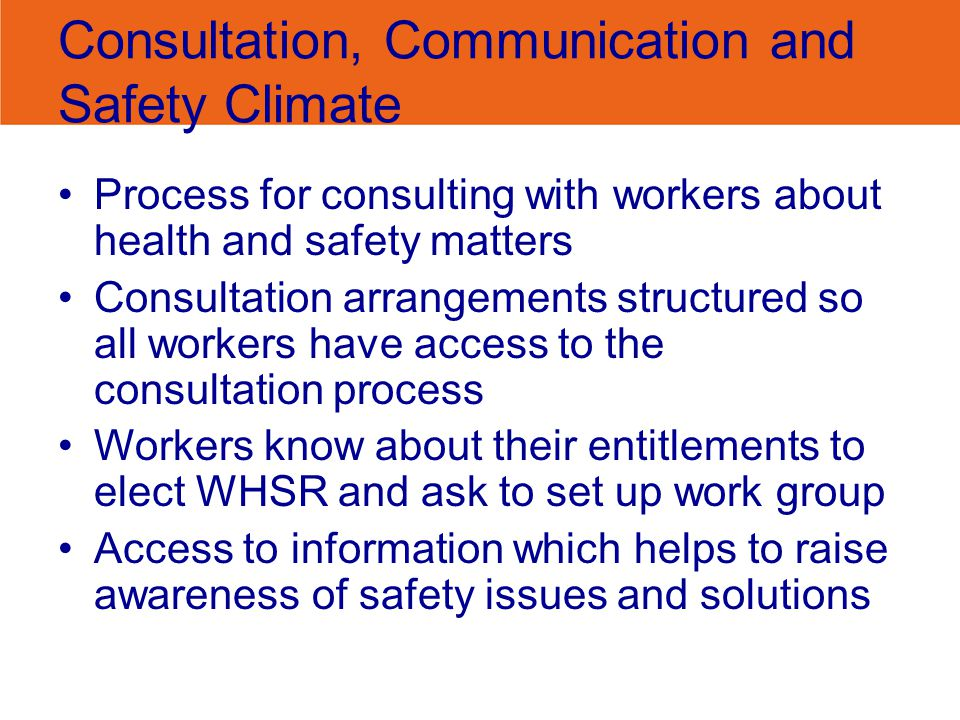 Consultation, Communication and Safety Climate