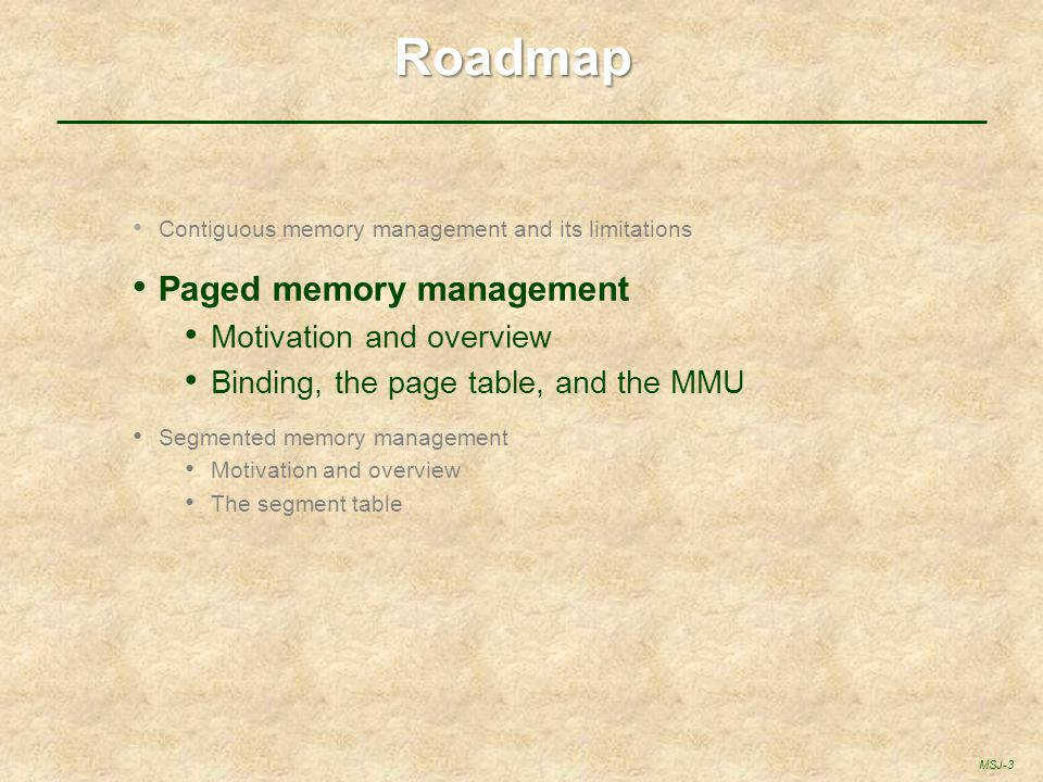 Roadmap Paged memory management Motivation and overview